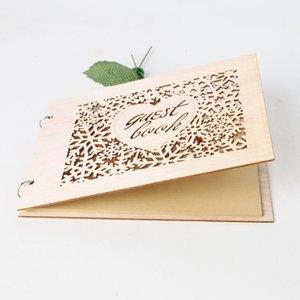 Wedding Signboard Heart Shape Supplies Guest Book Wooden Notebook Birthday Party Supplies