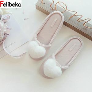 FELIBEKA automne coton rose air Chaussures de base épais pantoufles dame fluff cœur chaleur confortable indoorfloor femmes maison pantoufles T191018
