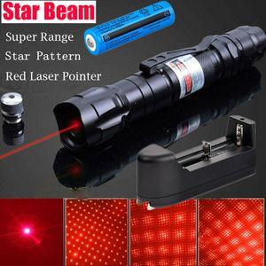100miles Potente 009 Red pluma del laser 5mW 650m Rayo de luz de láser rojo 2en1 Militar Pen Cap estrella + 18650 + cargador de batería