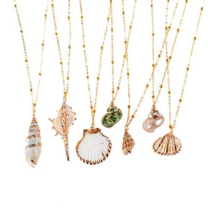 New Fashion Gold Plated Seashell Conch Pendant Necklace American European 18k Gold Chain Necklace Summer Beach Jewellry