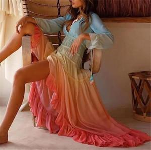 Kadınlar dizayn edilmiş elbiseler Seksi Bohem Stili Gradient Renk Elbise Günlük Uzun Kollu V-Yaka Plaj Elbiseler Casual Kadın Giyim
