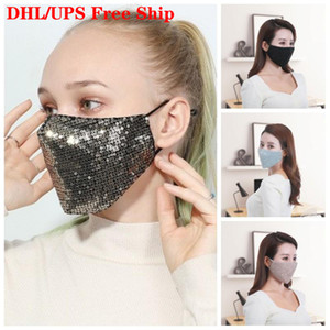 DHL Free Ship Sequins Face Mask Breathing Respirators Earloop Protect Designer Mouth Masks Unisex Men And Women For Autumn Winter