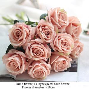 2020 regalo romantico rosa artificiale del fiore DIY rosso di seta bianca falsificazione fiore per la casa festa di nozze Decorazioni San Valentino
