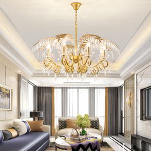 크리에이티브 LED 크리스탈 샹들리에 골드 잎 아트 데코 홈 조명 거실 키즈 침실 바 현대 부엌 용 램프 매달려