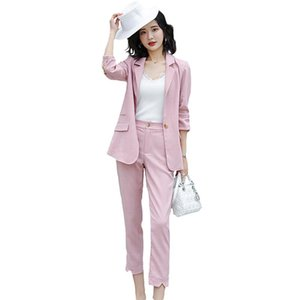 2019 Formal Chic Women's Business Blazer Trouser Suit Office Sets Female Solid Color Slim Thin Sets Ladies Casual 2 Pieces W100