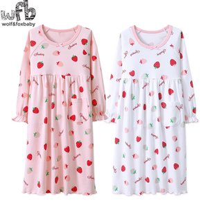 Retail 3-14 years long-sleeves cotton children's home wear nightdress girl baby pajamas autumn fall Spring Strawberry Y200704