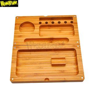 Bambus Multifunktionale Tabak Behälter Des Rollen 249mm * 242mm Backflip Bambus Magnetic Behälter Des Rollen Rauchen Grinder Lagerung Fall von DIY