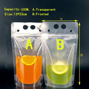 Grande vendita !!! 500ML Beverage Packaging Bag Bag Zipper Frosted trasparente addensare Drink portatile tenuta sacchetto di plastica 100PCS A08
