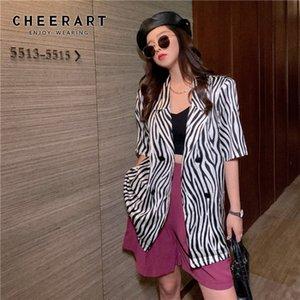 CHEERART Zebra Print Summer Blazer Women Korean Loose Short Sleeve Casual Blazer Suit Black Jacket Outerwear 2020 Fashion