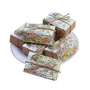 50 Pcs Around the Favor Boxes Vintage Kraft Favor Box Candy Gift bag for Travel Theme Party Wedding Birthday Bridal Sh