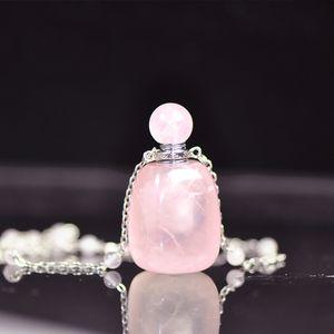 Botella de perfume de aceite esencial de cristal de rosa natural Joyería Collar de colgante de botellas de piedra de cuarzo ovalado con cadena de plata real S925