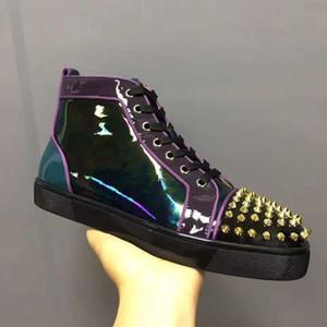 العلامة التجارية والنماذج جديد سبايك Orlato رجل جلدي مسطح الملونة براءات أحمر حذاء رياضة أسفل رصع حذاء أحمر وحيد المسامير الملونة أوريليان شقة