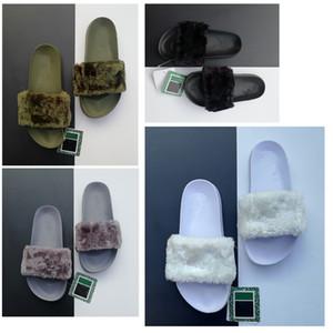 2019 top Qualita progettista Scarpe Leadcat Fenty Rihanna per le donne dei sandali dei pistoni dell'interno di modo delle ragazze Scuffs rosa nero pelo grigio diapositive