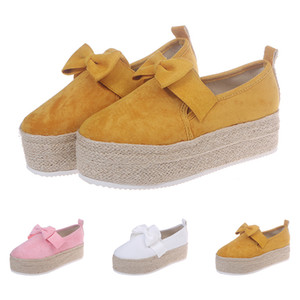 Новая вся продажа drop shipping Женщины Повседневная обувь с луком дамы одной обуви установить ногу белый розовый желтый платформа дизайнеры размер 37-42