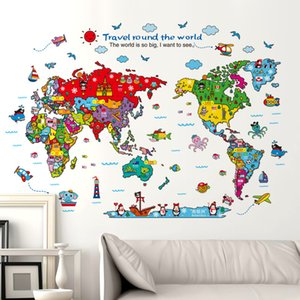 Wall Sticker Colorful Animal Map Bedroom Living Room Removable Removable Wall Sticker Xh9261