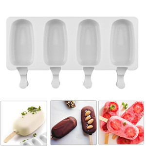 Food Safe Silicone Ice Cream Molds 4 Cell Frozen Ice Cube Molds Popsicle Maker DIY Homemade Freezer Lolly Mould With Free Sticks