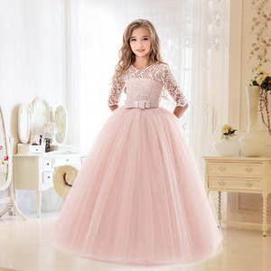 Kids Bridesmaid Lace Girls Dress For Wedding and Party Dresses Evening Christmas Girl long Costume Princess Children Fancy 6-14Y