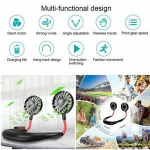 Ventilatori da collo portatili 2020 Ventilatori da collo con doppia testa ricaricabile a batteria ricaricabile USB per ventilatori vivavoce sportivi da ufficio