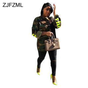 Zjfzml Chaquetas casuales con estampado de camuflaje Mujeres Cuello vuelto Abrigo de manga completa Streetwear Army Green Letter Outwear Puntada abierta Y190826
