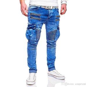 Hombres primavera Jeans Mens Fashion Azul Zippers rasgado motociclista Jean Calças Homens 2020 New Designer