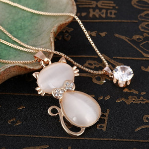 heap Pendant Necklaces Collier Femme Long Crystal Necklaces & Pendants for Women Cute Cat Statement Necklace Maxi Colar Chain Fashion Jew...