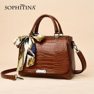 SOPHITINA New Versatile Frauen Messenger Bags Bänder Pailletten Dekoration Krokodil-Qualitäts-Beutel mit hohen Kapazität Handbags E31