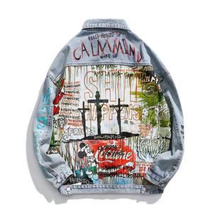 Giacche da uomo Lucky Ghost Little Demon Stampa graffiti Old Damaged Hole Denim Jacket Uomo Donna Cappotto allentato