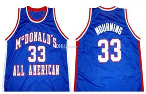 All American Alonzo McDonald Mourning # 33 Retro Basketball Jersey Hommes Cousu sur mesure Tous Nombre Nom Jerseys
