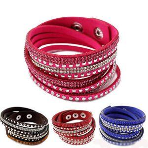 Vendita calda di 40 centimetri di pelle di cristallo del multistrato braccialetti dei braccialetti flanella spostano il braccialetto per le donne Braccialetti Snap Button monili del regalo