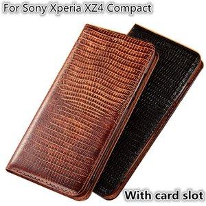 QX08 Kertenkele Desen Hakiki Deri Manyetik Telefon Kılıfı Için Sony Xperia Sony Xperia XZ4 Için Kompakt Flip Case Sony Xperia Kompakt Telefon çanta