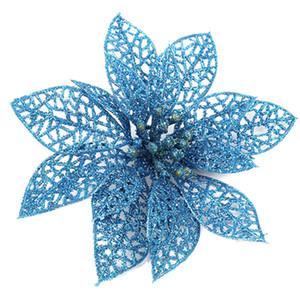 12 / 24Pcs Glitter Arbre de Noël de fleur ornements de Noël Parti Décoration Matériel LAD-vente