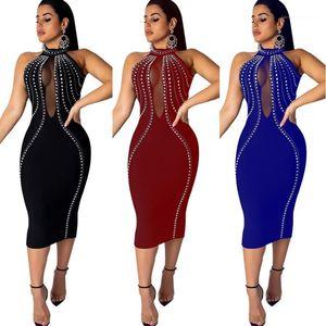 Mesh See Through vestito sexy Backless senza maniche Hot diamante Magro Designer Womens Party Dress