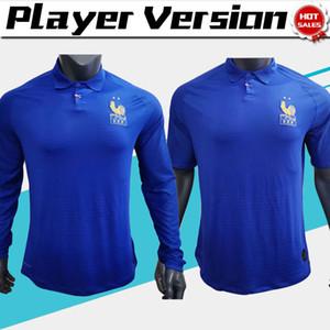 Player 버전 프랑스 100 주년 # 10 MBAPPE 축구 유니폼 19/20 파란색 짧은 소매는 긴 축구 셔츠 남자 축구 유니폼 소매