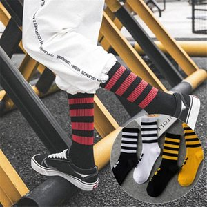 1pair Men Women Fashion White Socks Black Cool Mens Street Trends Couples Trends Cotton Skateboard Socks Men's Hip Hop Harajuku