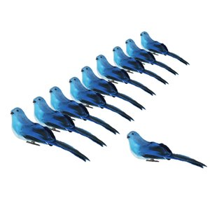 10Pcs Decorative Feathered Birds Statues, Clip On Bird Figurines for Home Desk Shelf Mantel Yard Lawn Patio Party Favors - Blue