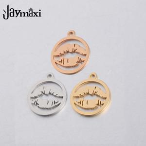 Jaymaxi Seksi Dudaklar Charms Ayna başarılmıştır Paslanmaz Çelik Altın Renk DIY Aksesuar Takı 1.5mm Kalın 20pieces / lot