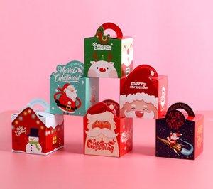 2020 Noel Taşınabilir Apple Kutuları DIY Pişirme Bisküvi Kutu Kağıt Hediye Konteyner Şeker Kutuları Tatlı Vaka Partiyi Paketleme
