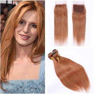 Перуанский Virgin Hair # 30 Medium Auburn переплетений человеческих волос Связки и закрытие Прямые Auburn Цвет Наращивание волос человека с Lace Closure