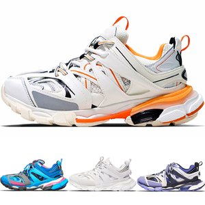 Top Quality Triple S Traccia Formatori 2 pattini correnti del mens Tess S. Gomma Trek Donne Sport Sneakers Bianco Arancione 3M riflettenti Scarpe No-box