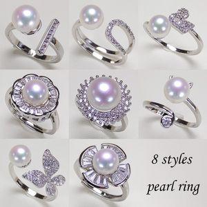 Real Natural de água doce Anel Pérola Moda 925 presentes ajustável zircão anel de casamento elegante mulheres prata jóias 8pcs / lot
