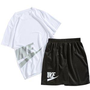 Camiseta + pantalón corto hombres traje del chándal de deporte masculino Set 2020 hombres ropa de deporte del basculador de los sistemas del verano 2 piezas más el tamaño 5XL