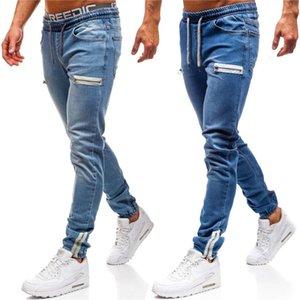 أنماط أزرق طويل قلم رصاص السراويل الهيب هوب شارع العليا عارضة الملابس الداخلية مصمم نصف زيبر جينز رجالي أزياء