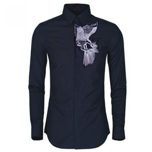 Luxury Men Shirt Solid Color Exquisite Eagle Embroidery Long Sleeve Mens Dress Shirt White Black Mens Shirts Casual Slim Fit 4XL