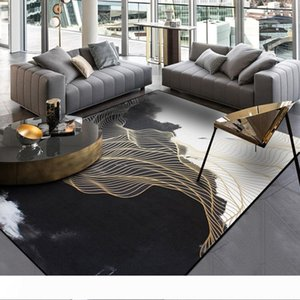 Black White Living Room Area Rugs Landscape Painting Carpet Gold Linen Hallway Tapete Bedroom Bedside Non-Slip Kitchen Carpets