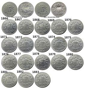 US um conjunto de (1866 -1883) 20PCS cinco centavos Nickel Copiar Moedas Medel Craft Promoção barato preço de fábrica Acessórios Nice Home