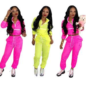 2019 Casual İki Adet Eşofman Kadınlar çevirin Aşağı Yaka Uzun Kollu Crop Top + İpli Pantolon Streetwear 2 Adet Kıyafetler Eşofman S-2XL A414