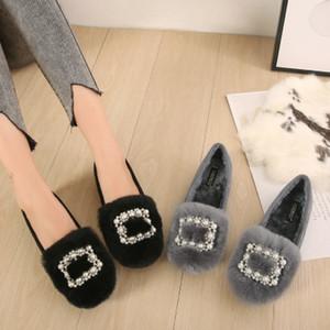 2019 Femininos artificial fur winter flats round toe flock Warm slip-ons velvet shoes with Cute rhinestones red black 43 34 2020 new