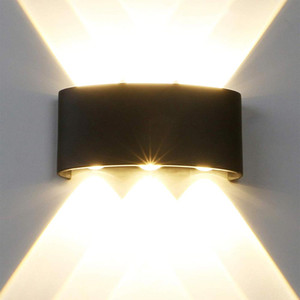 Luz de pared impermeable BRELONG LED IP65, 6W 220V lámpara de pared 4000K aleación de aluminio interior y exterior lámpara de pared Negro