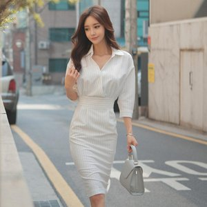 2020 New Style Spring Strip Blouse Women Dress and V-Neck Knee Length Bodycon for Office Ladies
