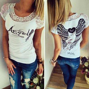 Roman design 2020 Summmer Wear Slim femmes Style manches courtes O col T-shirt Hauts dos creux Ailes d'ange sexy en dentelle Blusa S-XXL